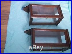 Colonial Williamsburg style Mahogany & Glass Candle Lantern Sconce Wall Box