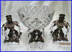 Crystal Brass Marble Compote Bowl Centerpiece 2 Matching Candle HoldersPrisms