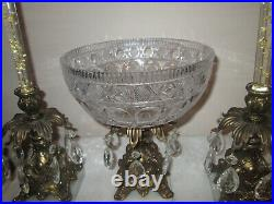 Crystal Brass Marble Compote Bowl Cut Glass Prism Centerpiece + 2 candleholders