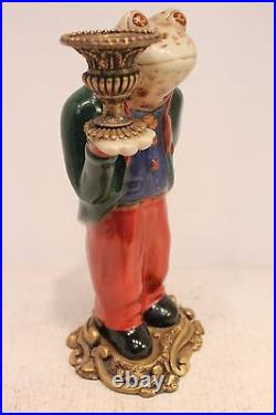 Cute Porcelain Frog Butler in Suit Figurine Brass Ormolu Candle Stick Holder