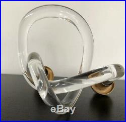 Dorothy Thorpe Lucite Pretzel Double Candle Holder Sculpture MCM Gold/ Brass