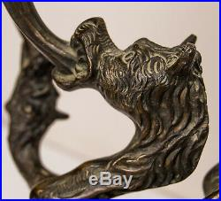 Dragon Phoenix Wyvern Candle Holder Candlestick Antique Bronze Egypt Middle East