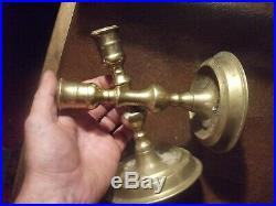 EARLY ANTIQUE 17th CENTURY BRASS CANDLESTICKS LIGHTING CANDLE HOLDERS