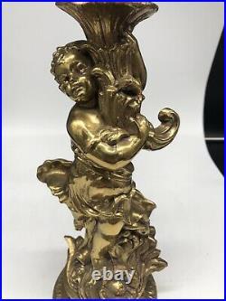 ESTATE antique/vintage Bronze/Brass CHERUB ANGELS Sconces Table candle holders