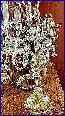 Elegant 3-arm Crystal Candelabra Taper Candlestick Candle Holder With Prisms