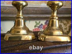 English Antique Brass Candleholders Pair Early 1900s 10 in