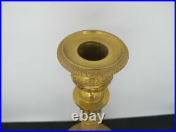 Exquisite Antique GILT Brass NEOCLASSICAL 11 1/2 Tall Candlestick Pair