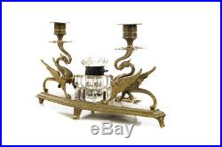 Exquisite Double Griffin brass Candleholders withCrystal inkwell Exquisite