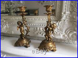Exquisite Pair Of French Antique Ornate Gilt Brass Cherub Candle Holders