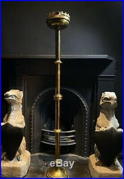 Extra Large Antique Brass Church Candlestick/Candle Holder Ecclesiastical Gothic