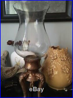 Extra Large Antique Brass Crystal Hurricane Pillar Candle Holder 19H