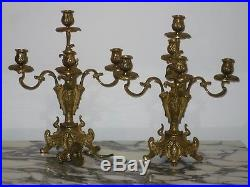 FABULOUS Pair Of ORNATE 5 Arm FRENCH BAROQUE Brass CANDELABRAS