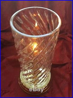 FLAWLESS Exquisite WATERFORD Crystal Brass WYNDUM HURRICANE LAMP CANDLE HOLDER