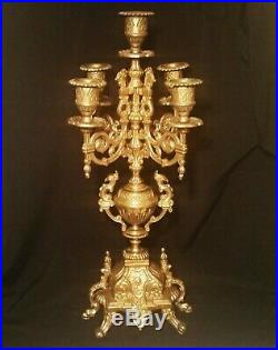 FRENCH CHICKEN! Vtg brass candelabra lion crown snake dragon art sculpture