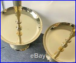 Fab Pair Rare Tall 1950s Brass Tommi Parzinger Candle Holders Modern Deco Mint