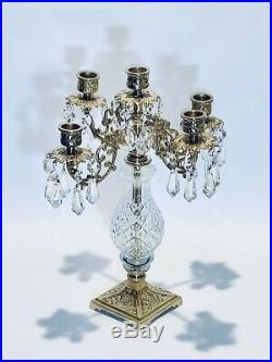 Fabulous Vintage 14Inches Imperial French Brass and Crystal Candelabra 5 Candles