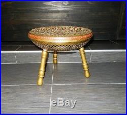 Foot Warmer Three Leg Stool Brass Decorative Turkish Metalwork Enamel Antique