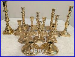 Fourteen Shiny Patina Brass Candlesticks 2.5 to 10- Perfect for Weddings