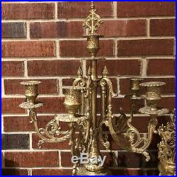 Franz Hermle Imperial Bronze Brass Clock & Candle holders