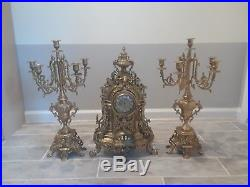 Franz Hermle Imperial Bronze Brass Clock & Candle holders! A rare find