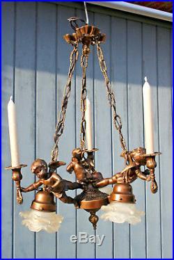 French 1950 spelter brass Angels putti cherubs chandelier candleholder 3 arms