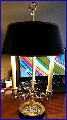 French Bouillotte Lamp Tole Shade 3 Swan Candleholder Base Chapman ...