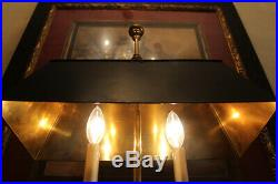 French Bouillotte Style Brass Swans Candle Holders Figural Lamp Black Tole Shade