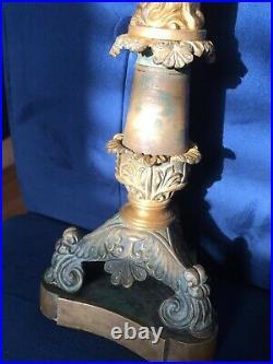 French Empire Ormolu Antique Figurine Holding 3 Candelabra 18th century So RARE