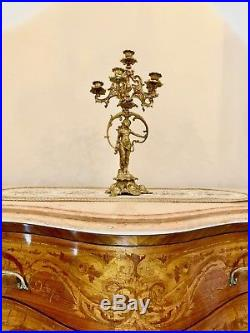 French Heavy Brass Candelabra Candle Holder