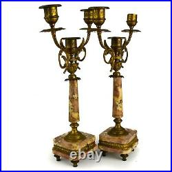 French Pair Candelabras Antique 13 Red White Marble Brass 3-Branch Candlestick