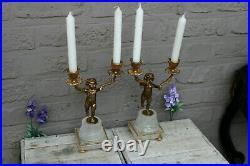 French vintage pair brass putti cherub candlestick candle holder figurine