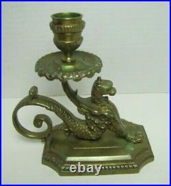 GRIFFIN MONSTER BEAST Antique Bronze Brass Chamberstick Candle Holder Ornate