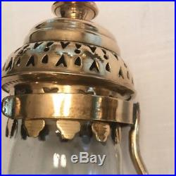 GWR RAILROAD BRASS GLASS CANDLE HOLDERS LANTERN LAMPS SCONCES WALL MT Set Of 2