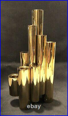 Gio Ponti Brass Tubular 5 Candle Sculpture Vintage Mid Century Candelabra