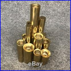 Gio Ponti Vintage Mid Century Modern Tubular Brass Candle Holder Candelabra