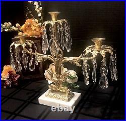 Girandole Candelabra Solid Brass Marble Hanging Crystals Vintage Dolphin Decor
