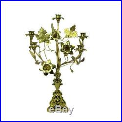 Gorgeous Brass Hollywood regency Flowers Candle Holder Candelabra HTF 5 arm