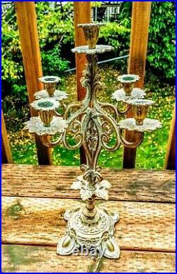 Gorgeous Vintage Antique Set Brass Candle Candelabra French Nouveau Crystals