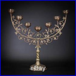Gothic Candelabra Bronze Candle Holder Antique Brass 7 Tier Church 21