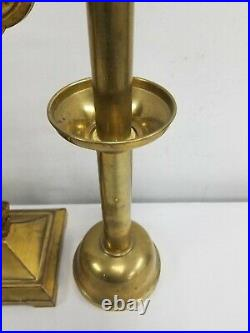 Great Brass Set Religious Altar Church Candlesticks Candelabra Crucifix Antique