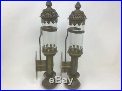 Gwr Railroad Brass Candle Holders Lantern Lamps Sconces Wall Mt Set Of 2 Pullman