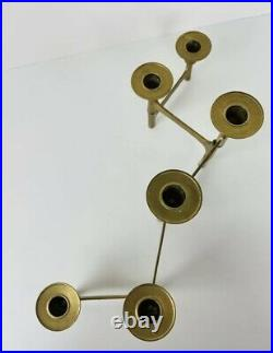 HTF MCM Brutalist Mid Century Modern Folding Brass 6 Candle Holder Candelabra