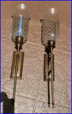 HUGE 29HIGHEthan Allen Country French Crystal & Brass Candle Sconces