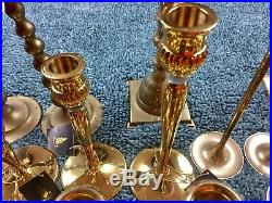 HUGE Lot Of 33 Brass Candle Stick Pairs And Groups Some Party Lite Turtle Pair