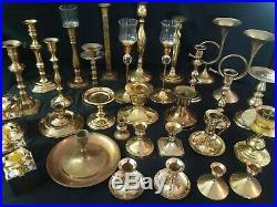 HUGE Lot of 32 Vintage Solid Brass Candle Holders Candlesticks Polished Wedding