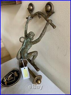 Handmade Maitland Smith Collectible Brass Monkey Toilet Paper Holder