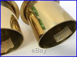 Hans-Agne Jakobsson Mid Century Green Glass Brass Candle Holder L 40 Sweden 50s