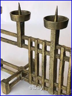 Heavy Mid-Century Bronze Brass Brutalist Candelabra Candlestick Candle Holder