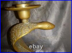 Htf Vintage Brass Cobra Snake Candle Holder 9 Heavy Figure 8 Coil