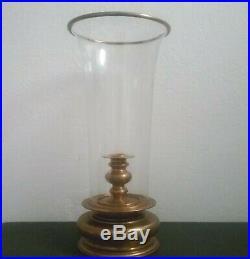 Huge 26 Vintage Chapman 1981 Brass Hurricane Lamp Glass Candle Holder Large